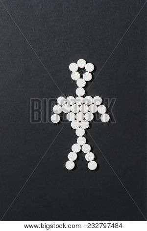 Medication White Colorful Round Tablets Arranged Abstract On Black Background. Human, Aspirin, Capsu