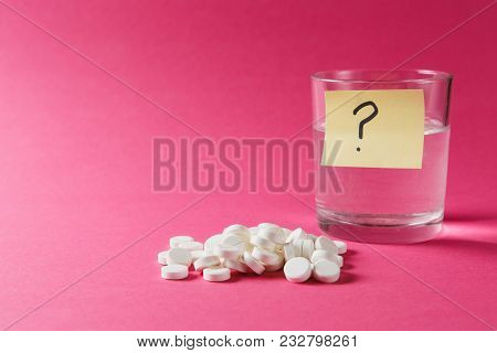 Medication Pile White Round Tablets Arranged Abstract On Pink Rose Color Background. Aspirin, Glass