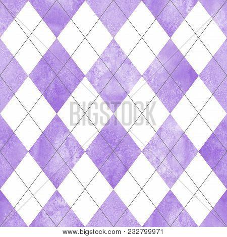 Argyle Seamless Plaid Pattern. Watercolor Hand Drawn Purple Lilac White Texture Background. Watercol