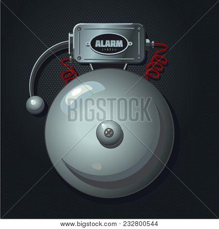 Vintage Signaling. Alarm System. Retro Signalization. Metalic Bell. Realistic Vector Lllustration