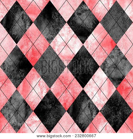 Argyle Seamless Plaid Pattern. Watercolor Hand Drawn Black Gray Red Texture Background. Watercolour