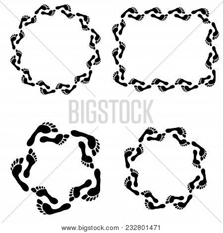 Set Of Frames With Prints Barefooted Human Foot. Footprint Icon. Flat Vector Cartoon Illustration. O