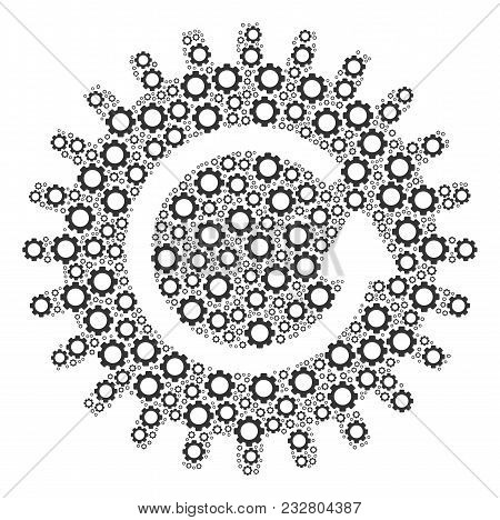 Rotate Cog Mosaic Of Gear Elements. Vector Cog Wheel Items Are Organized Into Rotate Cog Pattern.