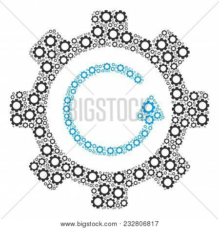 Gear Rotation Direction Mosaic Of Gear Elements. Vector Tooth Gear Components Are Organized Into Gea