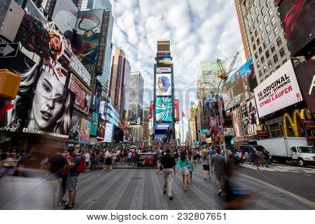 New York, Usa - Aug 17, 2016: Times Square In Daytime With One Times Square (times Tower) In The Mid