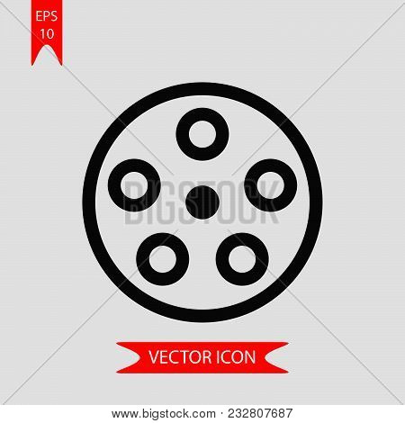 Reel Wheel Icon Vector In Modern Flat Style For Web, Graphic And Mobile Design. Reel Wheel Icon Vect