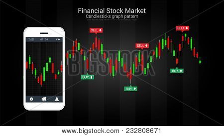 Mobile Stock Trading Concept With Candlestick And Financial Graph Charts On Screen, Global Network C