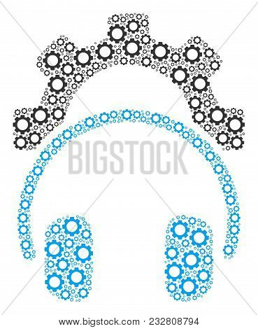 Headphones Configuration Gear Composition Of Vector Gears. Vector Cogwheel Items Are Combined Into H