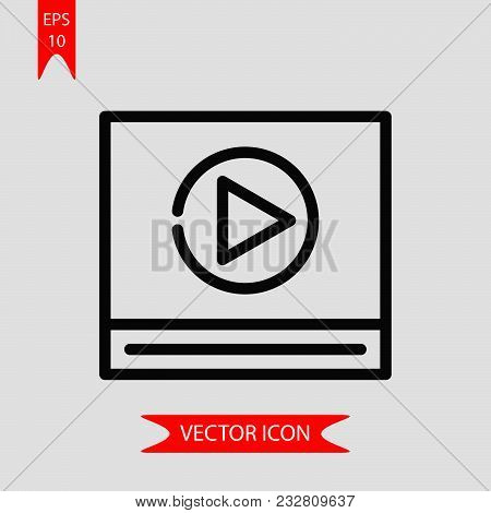 Video Player Icon Vector In Modern Flat Style For Web, Graphic And Mobile Design. Video Player Icon