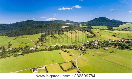 Road, Forest, Village And Fields Summer Landscape From Above - Drone View