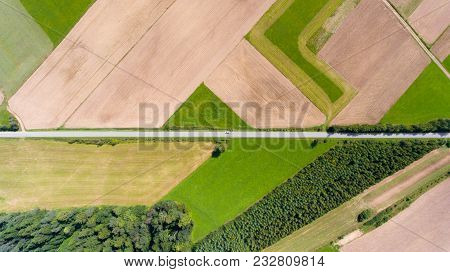 Farmland With Road Aerial Drone Top View From Above