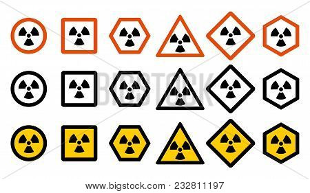 Industry Concept. Set Of Different Radiation Hazard Signs For Your Web Site Design, Logo, App, Ui. R