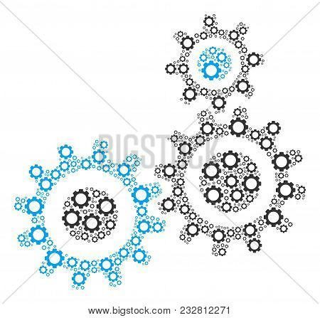 Gear Mechanism Composition Of Cogs. Vector Cogwheel Elements Are Combined Into Gear Mechanism Collag