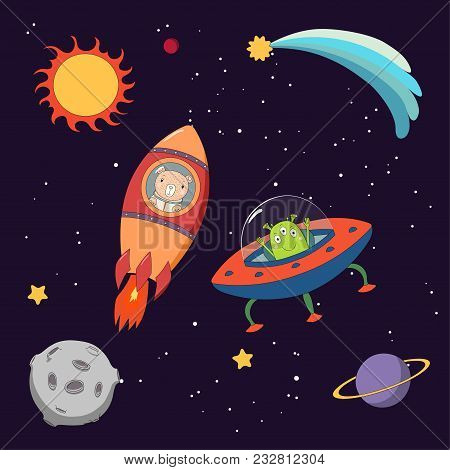 Hand Drawn Colorful Vector Illustration Of A Cute Funny Alien In A Flying Saucer And Bear Astronaut