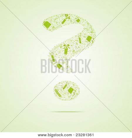 Green question from gifts, vector illustration