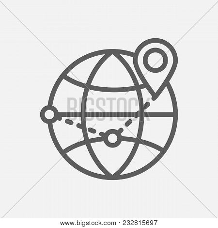 Global Logistics Icon Line Symbol. Isolated Vector Illustration Of Global Business Delivery Sign Con