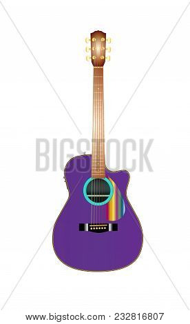 Vector Illustration Of Realistic Acoustic Guitar. Eps10