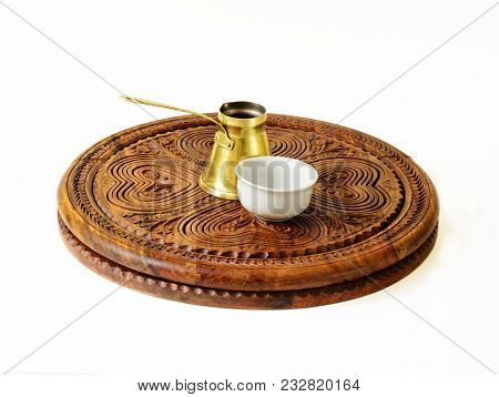 Ibrik (turkish Coffee Pot) And A Fildzan (turkish Coffee Cup) On A Beautiful Carved Wooden Salver.