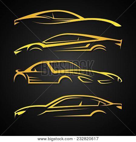 Creative Set Vector Image For Business Of Modern Car Emblems. Logo Design Template For Car Sport. Ve