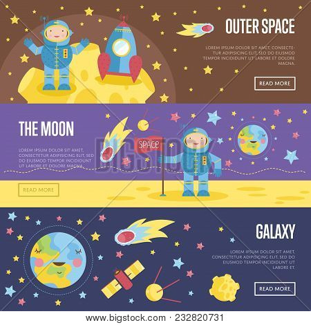 Outer Space, The Moon, Galaxy Cartoon Banners. Spaceship And Astronaut In Spacesuit On Moon Surface,