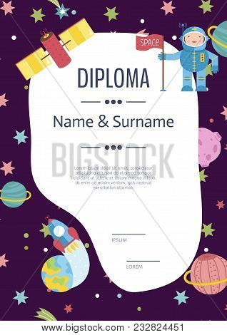 Diploma Cartoon Template. Spaceship, Stars. Planets, Comets. For Award For Victory In Scientific Com