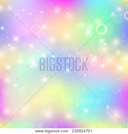 Fairy Baby Girl Background With Rainbow Mesh. Cute Universe Banner In Princess Colors. Fantasy Gradi