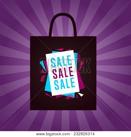 Sale Sticker On Package Silhouette Isolated Illustration. Exclusive Offer Tag, Price Discount Promot