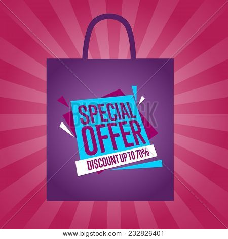 Special Offer Sticker On Package Isolated Illustration. Exclusive Offer Tag, Price Clearance Poster,