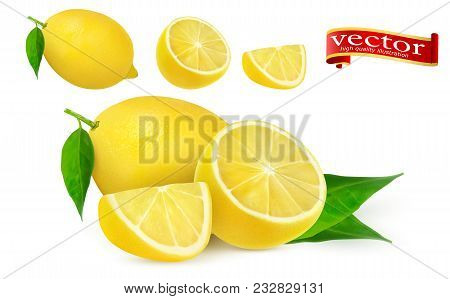 Lemon Juice Fresh Fruit, 3d Vector Icon. Collection Of Different Vector Illustration Of Fresh Lemons