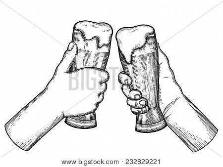 Two Graphic Hands Holding Pints Of Beer. Vintage Vector Illustration Isolated On White Background Dr