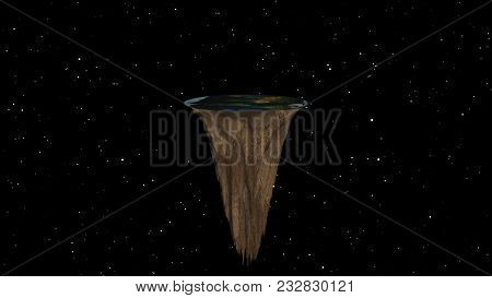 Flat Earth With Nature Landscape, Ancient Belief In Plane Globe In Form Of Disk, 3d Rendering Abstra