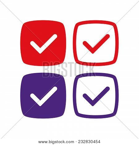 Verified and approve sign for social networks. Vector kit. Good for web badges, buttons, pins. poster