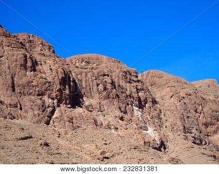 Rocky Slope Of Todgha Gorge Canyon Landscapes In Morocco, Eastern Part Of High Atlas Mountains Range