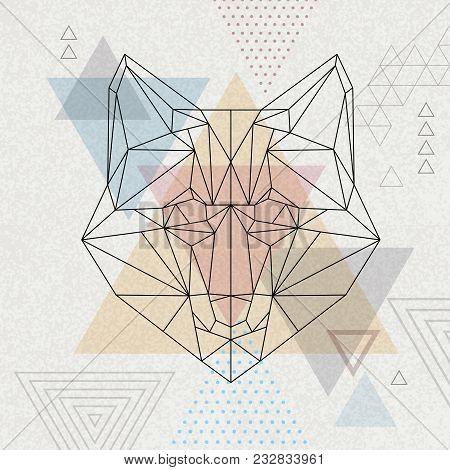 Abstract Polygonal Tirangle Animal Fox. Hipster Animal Illustration.