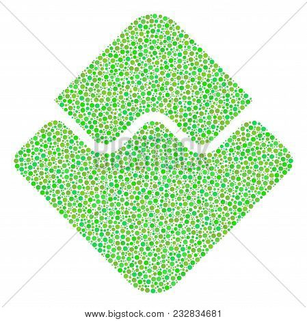 Waves Currency Collage Of Round Dots In Various Sizes And Ecological Green Color Hues. Small Circles