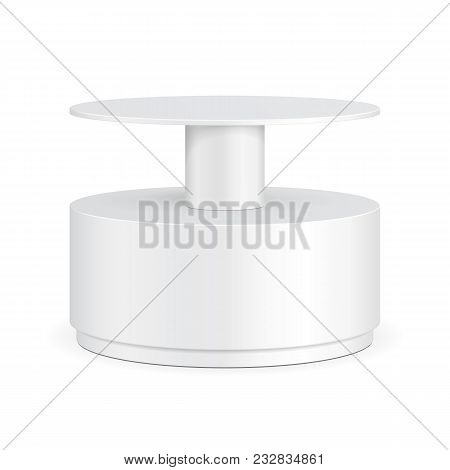 Round Cardboard Floor Display Rack For Supermarket Blank Empty With Shelves. Illustration Isolated O