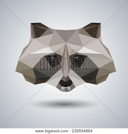 Abstract Polygonal Tirangle Animal Raccoon. Hipster Animal Illustration.