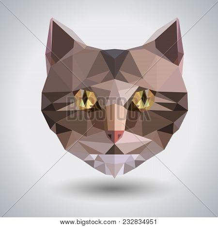 Abstract Polygonal Tirangle Animal Cat. Hipster Animal Illustration.