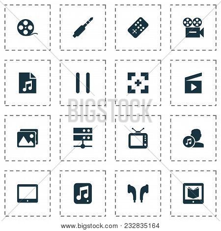 Music Icons Set With Song List, Media Server, Learning And Other Headphone Elements. Isolated Vector