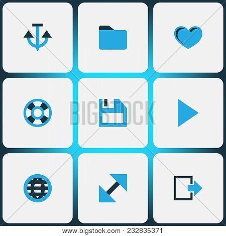 User Icons Colored Set With Exit, Play, Globe And Other Enlarge Elements. Isolated Vector Illustrati