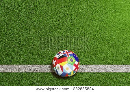 Soccer ball on playing field with participant countries as flag on the ball (3D Rendering)