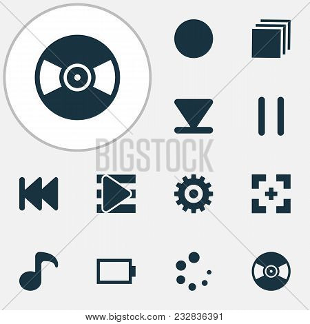 Multimedia Icons Set With Full Screen, Playlist, Energy And Other Quaver Elements. Isolated  Illustr