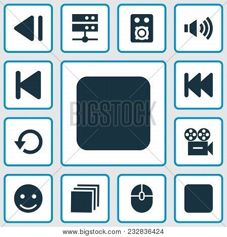 Music Icons Set With Camera, Stop, Categories And Other Previous Elements. Isolated  Illustration Mu