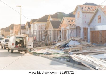 Blurred Abstract Wood Frame House Under Construction In Irving, Texas, Usa