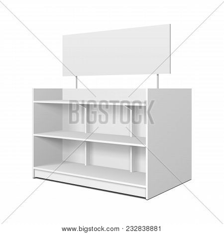 Blank Empty Showcase Displays With Retail Shelves, Trading Rack. Mock Up, Template. Illustration Iso