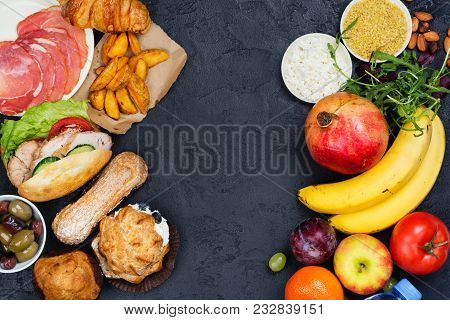 5:2 Fasting Diet Concept. Compulsive Eating Or Time For Diet Concept. Copy Space. Top View