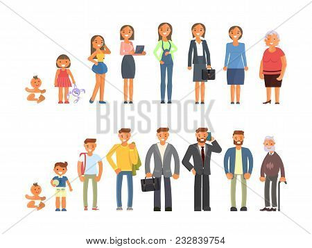 Man And Woman Characters In Different Ages In Cartoon Style. The Life Cycle Including Baby, Child, T
