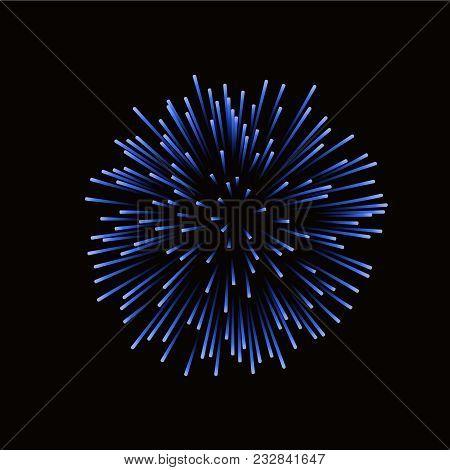 Beautiful Blue Firework. Bright Firework Isolated On Black Background. Light Blue Decoration Firewor