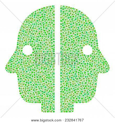 Dual Face Composition Of Dots In Different Sizes And Fresh Green Color Tints. Dots Are Grouped Into