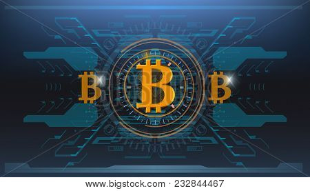 Bitcoin Technology, Abstract Visualization Futuristic Bitcoin , Aesthetic Design Hud Bitcoin Backgro